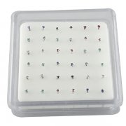 Sterling Silver Gem Settings Nose Studs w/ Display <b>($0.17 Each)</b>