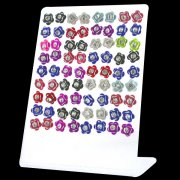 Jeweled Colorful Flower Ear Studs w/ Display <b>($0.51/PAIR)</b>